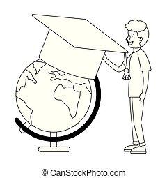 教育, 在網上, 卡通, 人