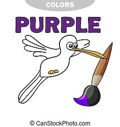 教育, -, 矢量, 插圖, 書, colibri, 游戲, 著色, 鳥