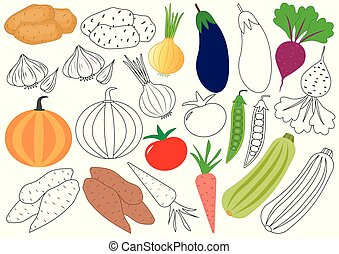教育, 著色, vegetables., book., 游戲, 矢量, children., illustration.