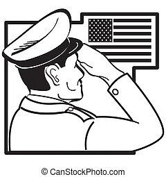 敬禮, 美國旗, 軍人