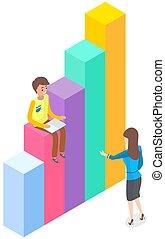 數字資訊, 人們, 圖形, 元素, 站立, 統計數字, 事務, 指示器