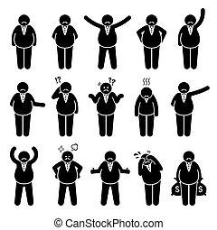 數字, 肥胖, 或者, set., 雇主, 行動, 富有, 擺在, 字, 老板, 圖象, 棍