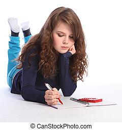 數學, 計算器, 家庭作業, 青少年, 女孩