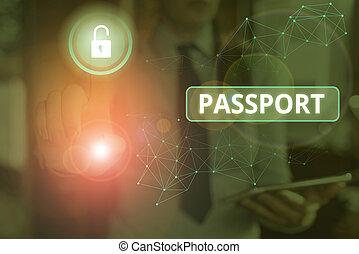 文件, identity., 相片, 正文, issued, 顯示, 政府, 概念性, 簽署, 官員, 證明, passport.