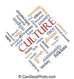 文化, 概念, 詞, 雲, 有角度