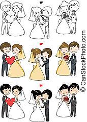 新娘, 可愛, 新郎