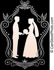新娘, 黑色半面畫像, 新郎