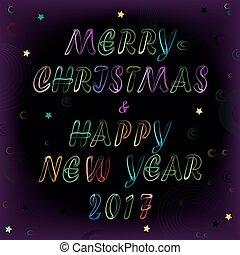 新年, 圣誕節卡片, 空間