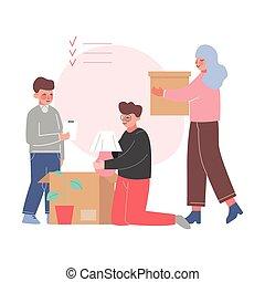 新的爸爸, 公寓, 兒子, 調遷, 箱子, 包裝, 插圖, 家庭, 矢量, 媽媽, 房間