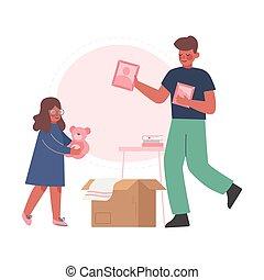 新的爸爸, 公寓, 調遷, 箱子, 他的, 包裝, 插圖, 女儿, 家庭, 矢量, 房間