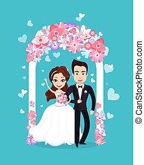 新郎, 新娘, 婚禮, 站立, 矢量, 一起