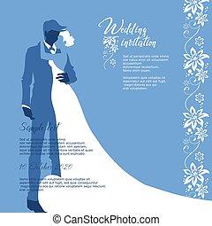 新郎, 邀請, 新娘, 矢量, 婚禮, 平面造型設計, card.
