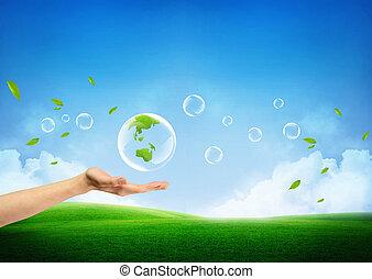 新鮮, 概念, 綠色的地球, 新