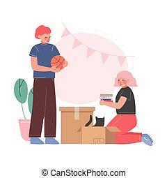 新, 公寓, 夫婦, 調遷, 所有物, 包裝, 插圖, 家庭, 矢量, 人們, 箱子, 紙板