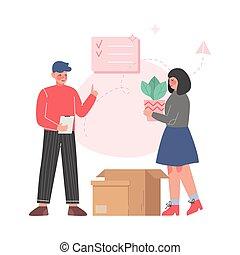 新, 公寓, 夫婦, 調遷, 所有物, 包裝, 插圖, 家庭, 矢量, 箱子, 紙板