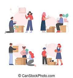 新, 集合, 打開, 紙板, 調遷, 箱子, 所有物, 包裝, 插圖, 矢量, 人們, 家庭, 家, 或者