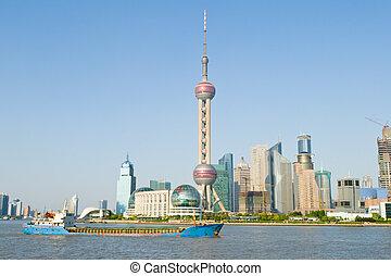 新, china., 東方, 塔, 背景, 老, 部份, 天空, 珍珠, 上海, 橫跨, 浦東, 藍色, 電視, shanghai., 河, huangpu, 浦東