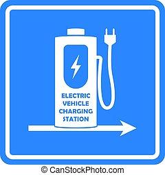 方向, 電的汽車, 或者, 矢量, vehicle., template., 車站, 簽署, 收費, 路