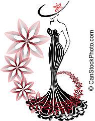 旋渦, 婦女, 花