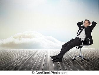 旋轉底座, 微笑, 椅子, 商人, 坐