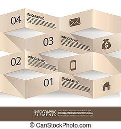 旗幟, 摘要, 現代, origami, infographic, 3d
