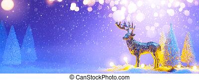 旗幟, 樹, 或者, 馴鹿, 問候, 聖誕節, santas, background;, 多雪, 裝飾, 卡片