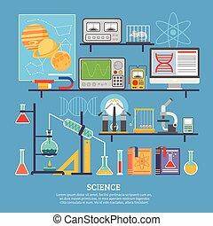旗幟, 科學, 實驗室, 套間, 研究