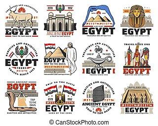 旗, 上帝, 古老埃及, 地圖, 金字塔, 圖象