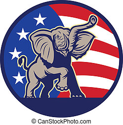 旗, 共和, 大象, 美國, 吉祥人