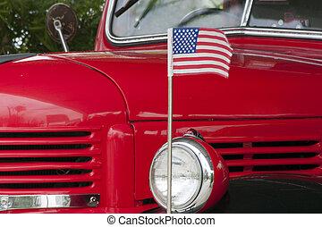 旗, 卡車, 美國人, 我們, 第一流