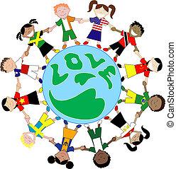 旗, 孩子, 愛, 襯衫, 全球