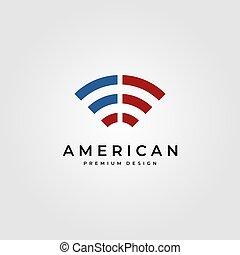 旗, 符號, 美國人, 標識語, 矢量, 設計, 插圖, wifi, 信號