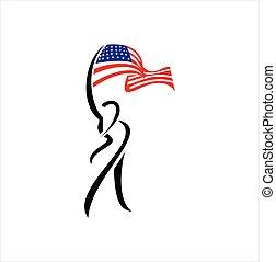 旗, 美國人, 人們, 矢量, logo.
