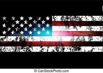 旗, 背景, 變暗, 美國