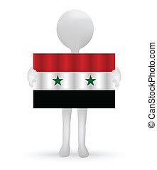 旗, 藏品, 小, 3d, 敘利亞人, 人