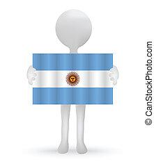 旗, 阿根廷, 藏品, 小, 3d, 人