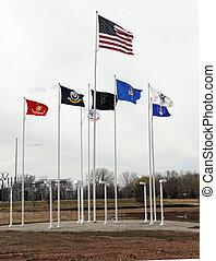 旗, 領域, 飛, 退伍軍人, 榮譽, 軍事, 博物館