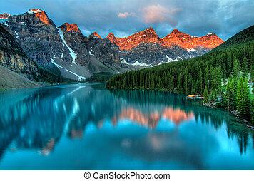 日出, 冰磧, 風景, 鮮艷, 湖