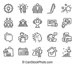 日曆, 人們, 組, set., 圖象, 矢量, 圖象, signs., included, 教育, 律師