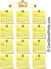 日曆, 矢量, 2013, 年
