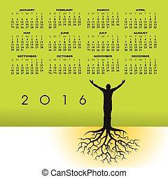 日曆, 2016, 根, 人