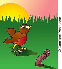 早, 抓住, 鳥, 虫