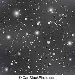 星座, 很多, 天空, seamless, 黑暗, 星, 夜晚, 圖案