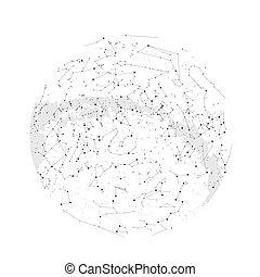 星座, 星, 北方, 科學, map., 半球, 天文學