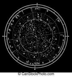 星象, 占星術, '2020., 一般, 天上, 北方, hemisphere., 全球, 地圖, 普遍