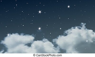 星, 天空, 云霧, 夜晚, 很多