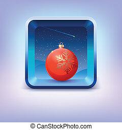星, 天空, 夜晚, 落下, 球, 聖誕節, 紅色, 圖象
