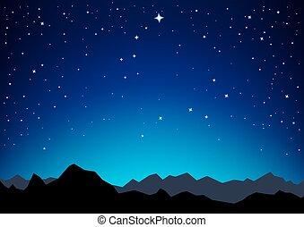 星, 天空, 山