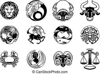 星, 星象, 簽署, 黃道帶, 集合, 占星術, 圖象