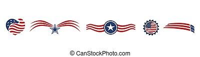 星, 標識語, 矢量, 集合, 白色紅, 條紋, 圖象, 藍色, 美國
